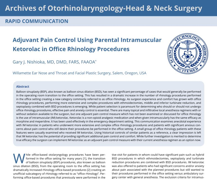 Adjuvant Pain Control Using Parental Intramuscular Ketorolac in Office Rhinology Procedures