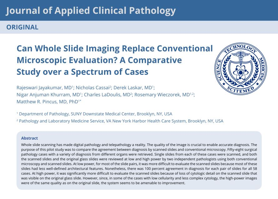 Can Whole Slide Imaging Replace Conventional Microscopic Evaluation? A Comparative Study over a Spectrum of Cases