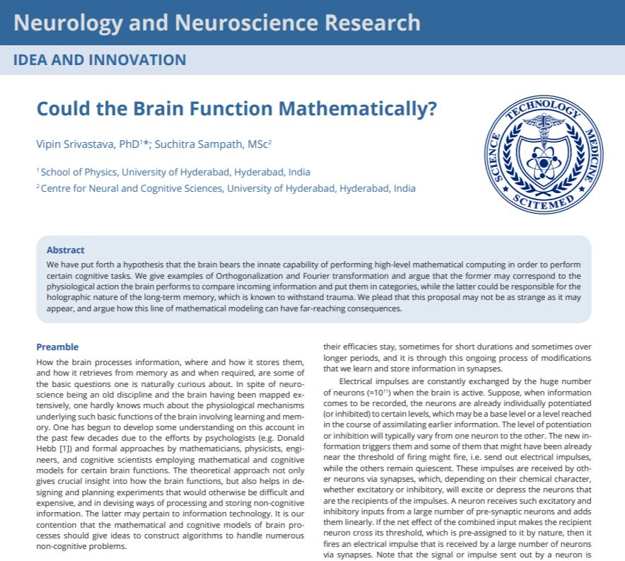 Could the Brain Function Mathematically?